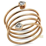 Womens IP Rose Gold Clear Cubic Zirconia Ring RI0T-08625