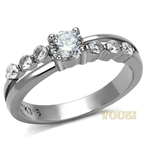 Womens High Polish Clear Cubic Zirconia Ring RI0T-08642