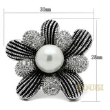 Womens High Polish White Synthetic Pearl Ring RI0T-08654