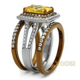 Womens IP Two Tone (Light Brown & Silver) Topaz Cubic Zirconia Ring RI0T-08676