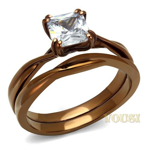 Womens IP Light Brown Clear Cubic Zirconia Ring RI0T-08678