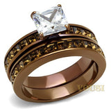 Womens IP Light Brown Clear Cubic Zirconia Ring RI0T-08691