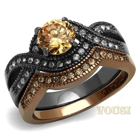 Womens IP Two Tone (Light Black & Light Brown) Champagne Cubic Zirconia Ring RI0T-08692