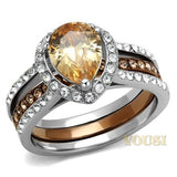 Womens IP Two Tone (IP Light Brown & Silver) Champagne Cubic Zirconia Ring RI0T-08694