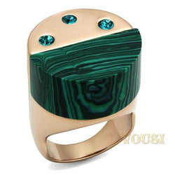 Womens IP Rose Gold Emerald Synthetic Malachite Ring RI0T-08704