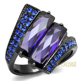 Womens IP Light Black Tanzanite Cubic Zirconia Ring RI0T-08713