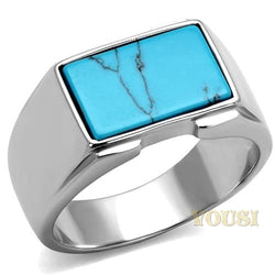 Mens High Polish Aquamarine Synthetic Amber Ring RI0T-08717, Jewelry - Worlds Largest Jewelry Store