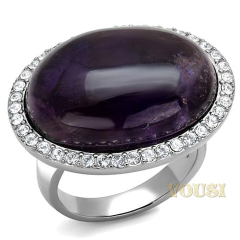 Womens High Polish Amethyst Crystal Ring RI0T-08739