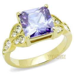 Womens IP Gold Light Amethyst Cubic Zirconia Ring RI0T-08831