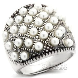 Womens Antique Tone White Synthetic Pearl Ring RI41-04700