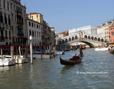 Italy, Gondola at Rialto Bridge, Venice, 16x20 print