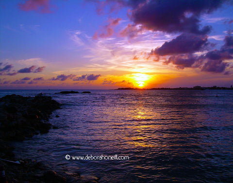 Caribbean Sunset Blues, St. Maarten, 16x20 print