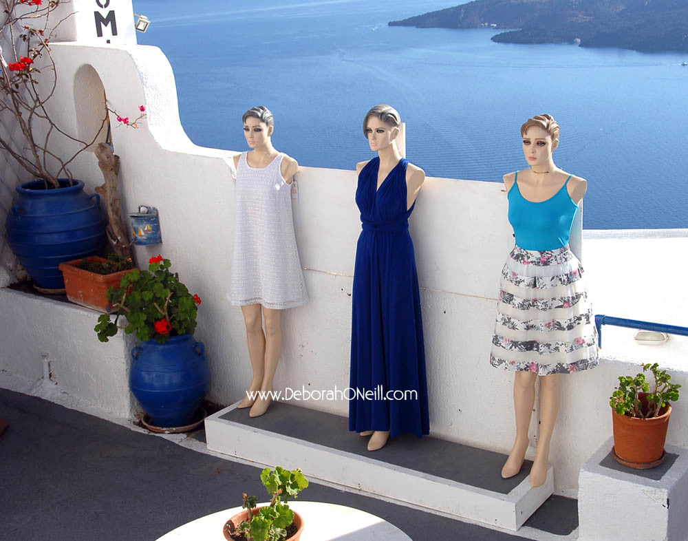 Greece Lady Mannequins Of Santorini, 16x20 print