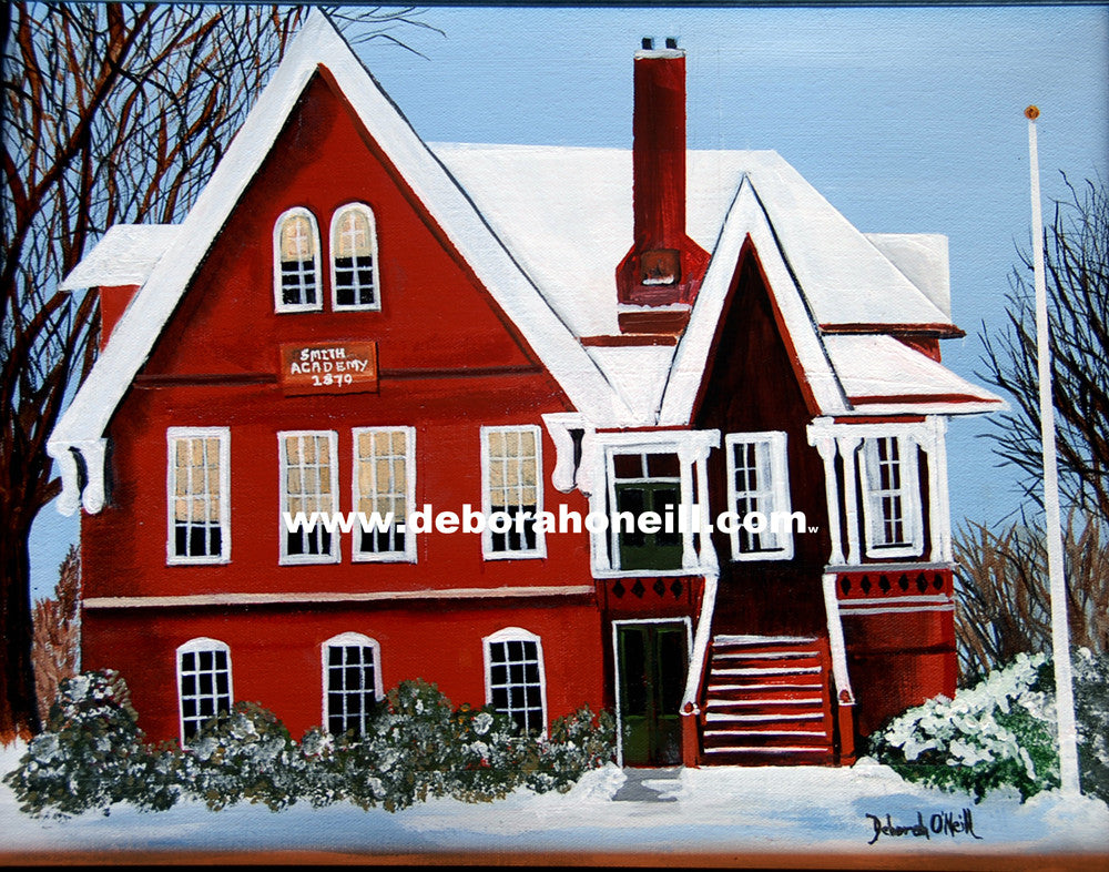 Painting Print, Old Smith Academy, Hatfield, MA, 16x20