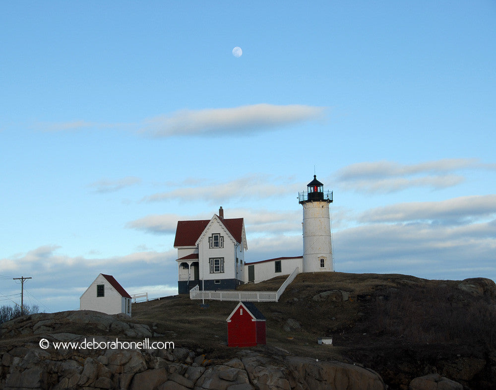 Ocean, Nubble Lighthouse under the Moon, York, Maine, 16x20 print