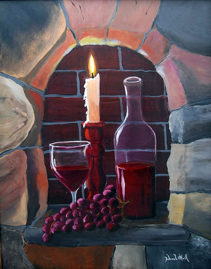 Oil Painting Print, Fire & Wine, 16x20