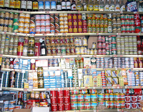 Spain, Cans in Chipiona Market,16x20 print
