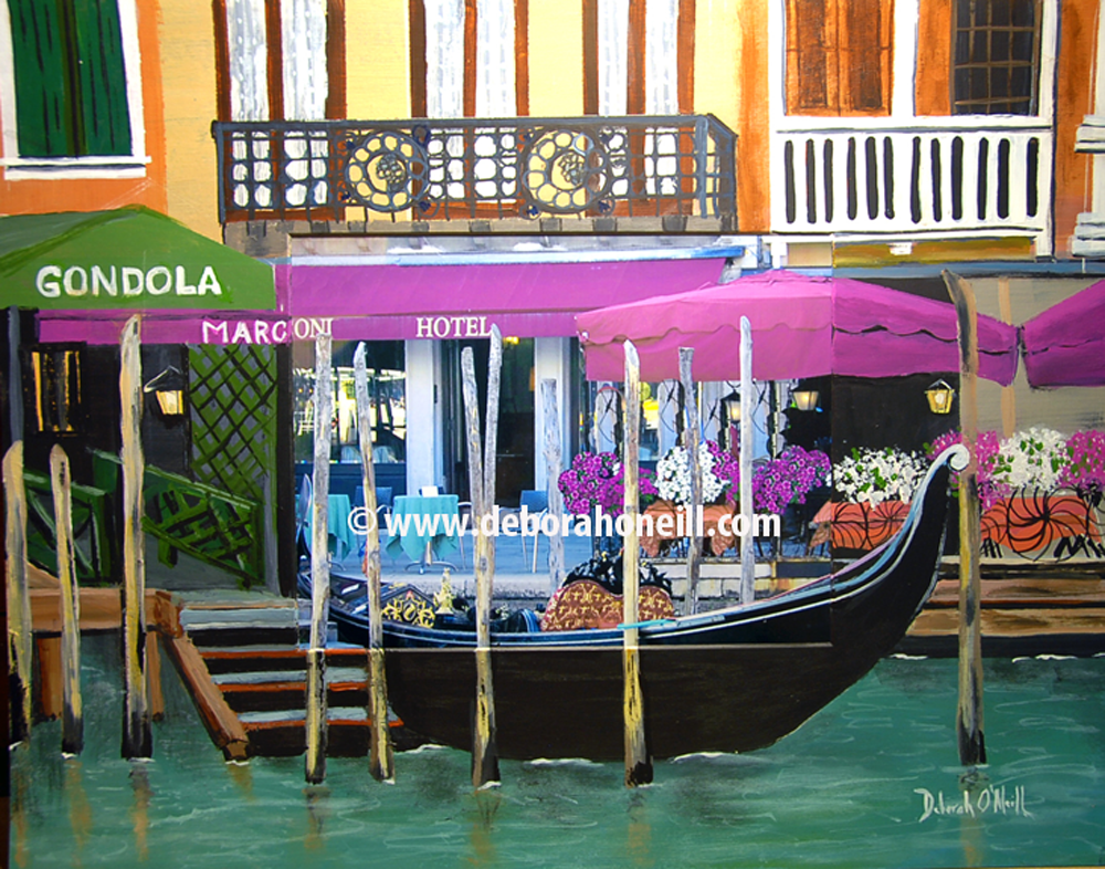 Photo Painting Print, Venice Gondola at Marconi, 16x20 PRINT