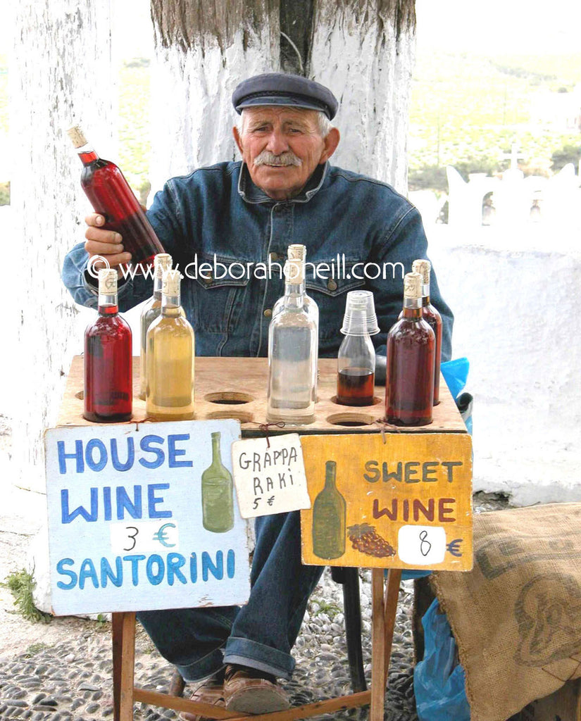 Greece Wine Man of Santorini, 16x20 print