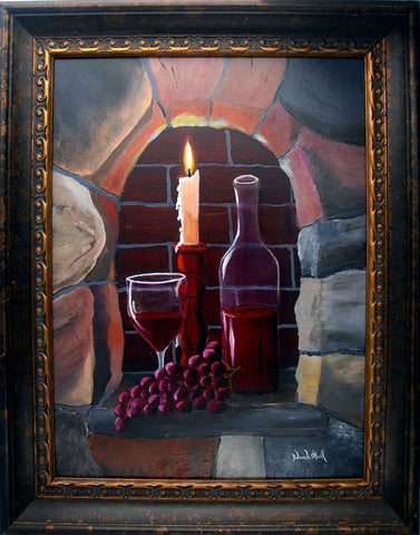 Painting, Original Oil on Canvas, Fire & Wine