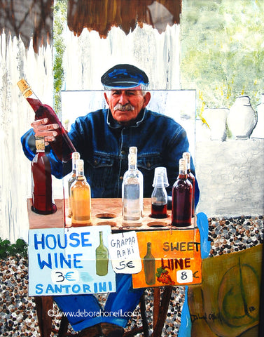 Photo Painting Print, Wine Man of Santorini, 16x20 PRINT