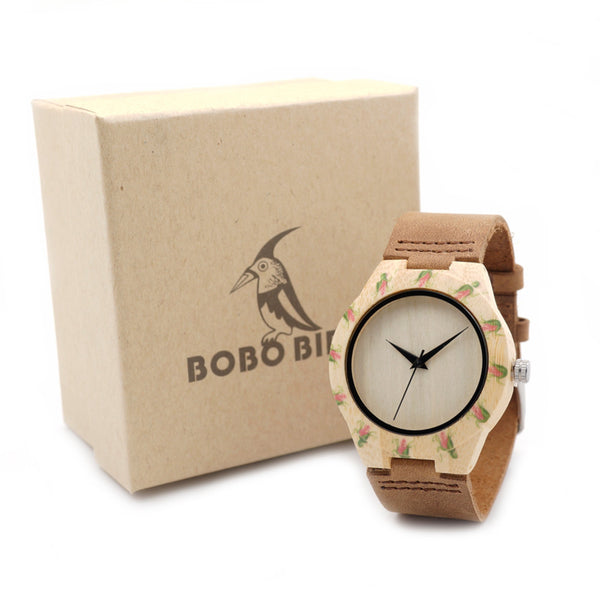 BOBO BIRD Women's Handmade Bamboo Wristwatch With Genuine Cowhide Leather Band w/Floral Motif