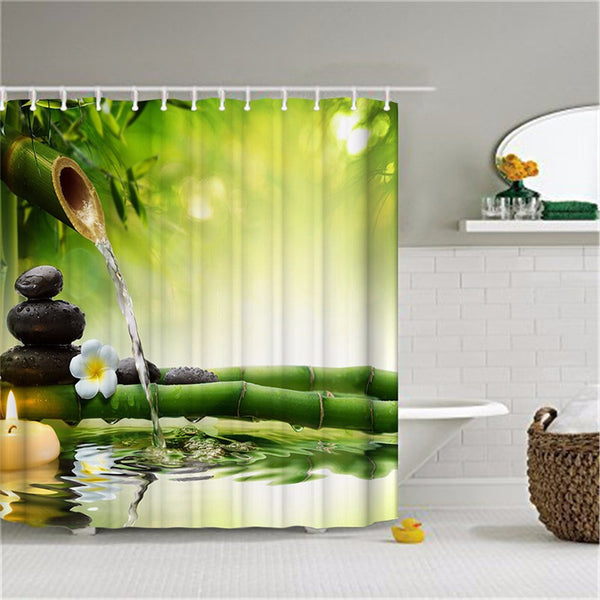 SPA Waterproof Shower Curtain Bathroom Decor - Tranquil Jasmine Flowers & Green Bamboo