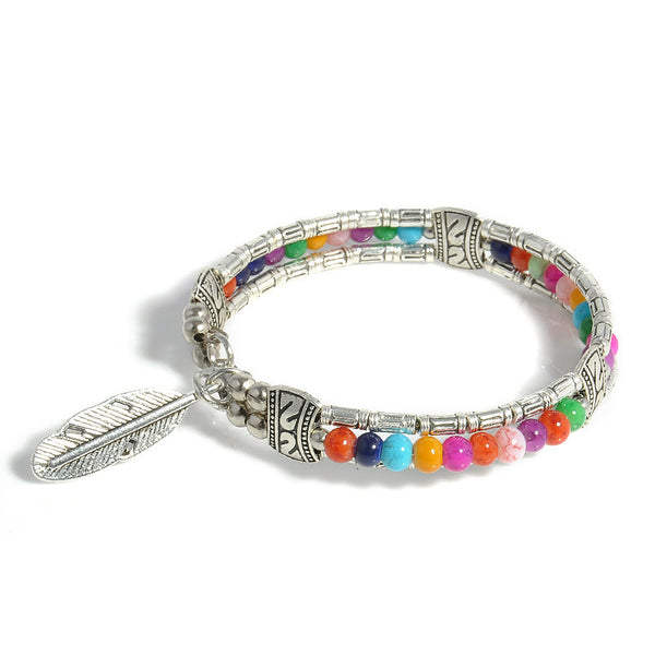 Tibetan Silver w/Colorful Beads & Silver Feather Bangle Gypsy Style Vintage Bracelets banges For Women FREE Shipping