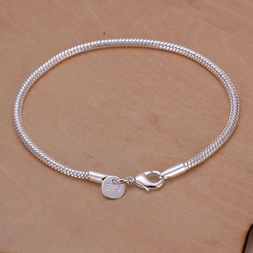 Free shipping .925 Silver Plated Snake Bracelet Top Quality