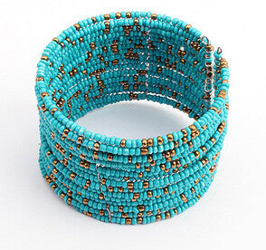 New Bohemian Boho Multilayer Beaded Bracelet For Women Fashion Retro Wide Cuff Open Bracelet
