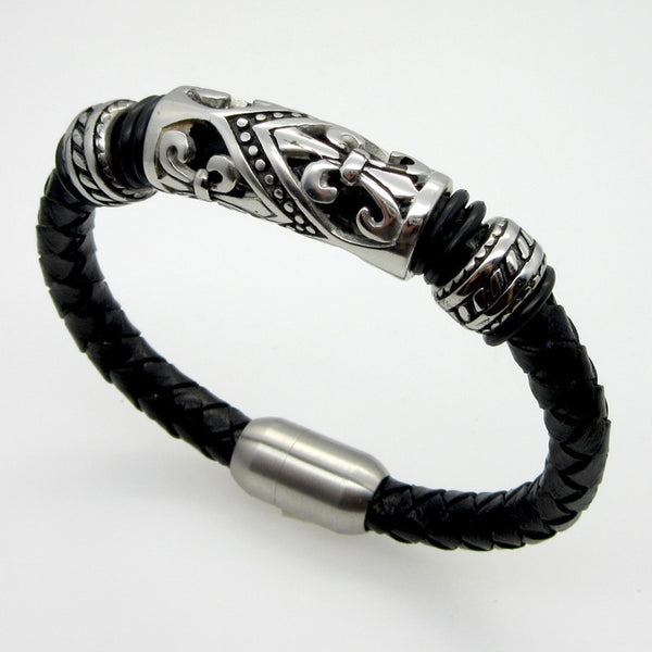 Men's Genuine Braided Leather Bracelet w/Stainless Steel Icon w/Magnetic Buckle Clasp