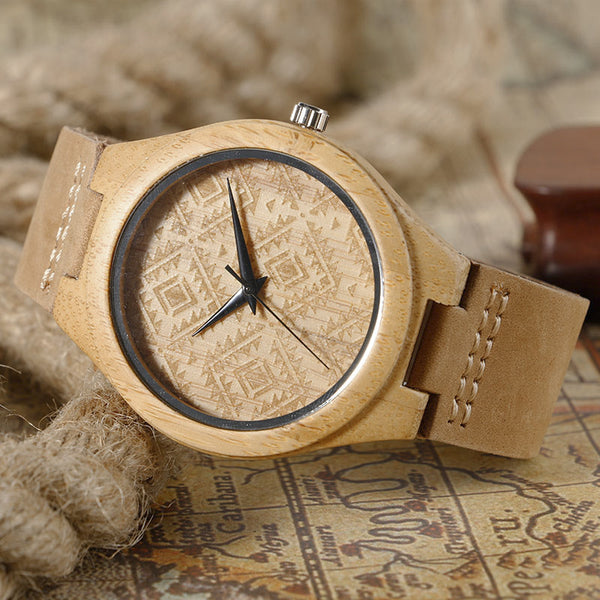 New Geometric Design Bamboo Wristwatch Unisex With Leather Band