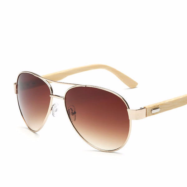 Men's POLARSNOW Aviator Style Bamboo Wood Frame Sunglasses