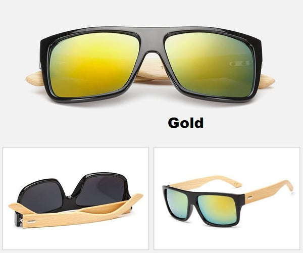 Cool Men's Bamboo Wood Designer Mirrored Sun Glasses - Bright Luminous Colors