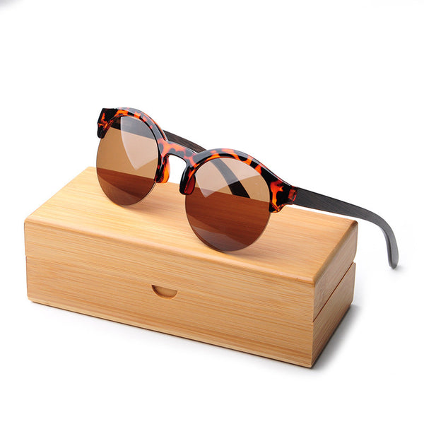 Lady's Bamboo Sunglasses Polarized Vintage Half Frame Wood Sunglasses W/Box