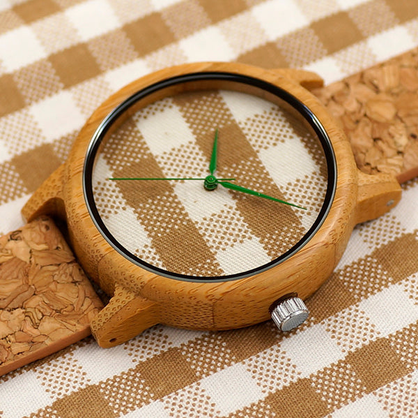 Ladies' Vintage Style Plaid Bamboo Wood Quartz Watch With Fabric Face  -Name Brand Luxury Watch