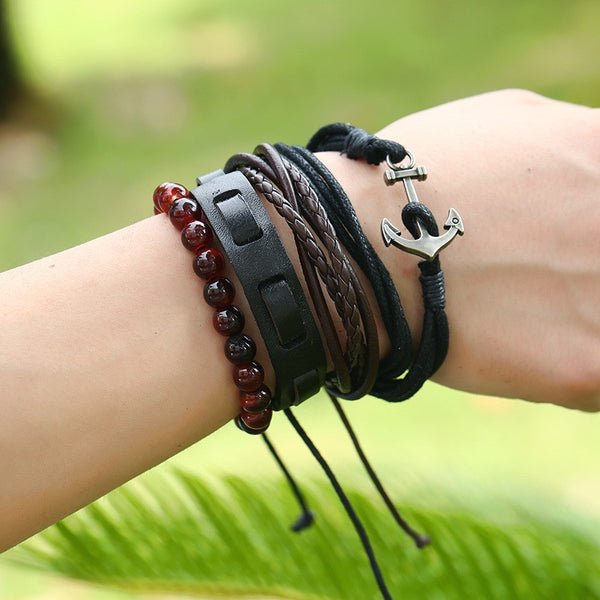 Genuine Leather Wrap w/Bangles Wooden Anchor Charm Cuff Bracelet