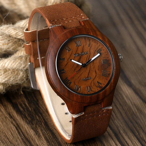 Natural Bamboo Wood Analog Roman Numbers Unisix Watch w/Genuine Leather Band