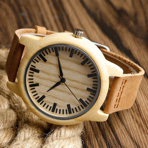 Hand-made Wooden Watch Made of Light Bamboo Wristwatch with Leather Band - Unisex