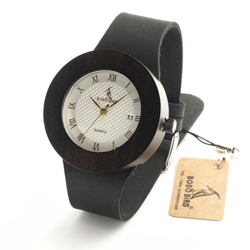 BOBO BIRD  Lady's Design Luxury Gold Wooden Bamboo Quartz Watch w/Leather Quartz Watch And Date