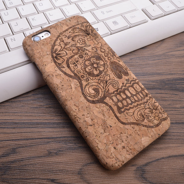 Cork Wood Grain Design Carving Pattern Phone Cover for iPhone 6, 6S, 7, 7plus