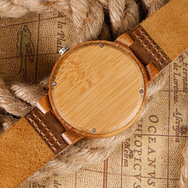 Men's Handmade Vintage Style Bamboo Watch / Genuine Leather / Analog