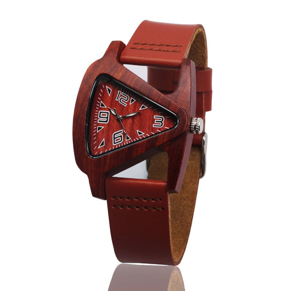 Unisex Triangular Bamboo Wooden Watch w/Genuine LeatherBand / Analog Quartz  Wrist Watch
