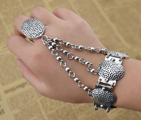 Gypsy Boho Vintage Silver Bracelet Oval Metal Beads Chains Slave Bracelets For Women w/Coin Charms