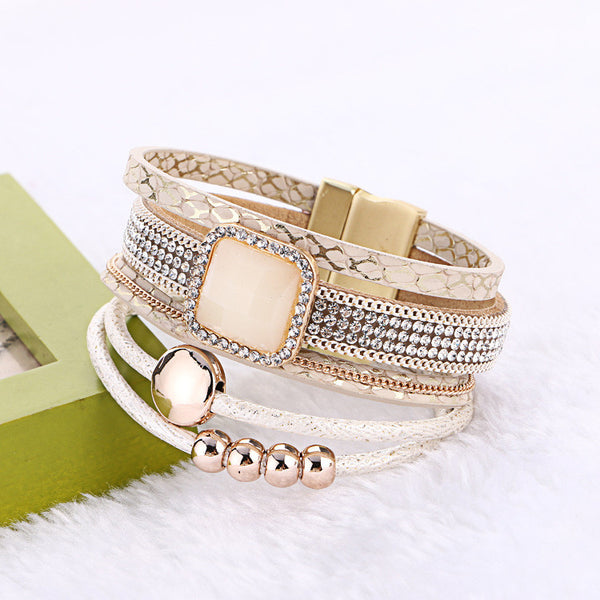 Handmade Multilayer Rhinestone Magnetic Wide Leather Cuff Bracelet for Women
