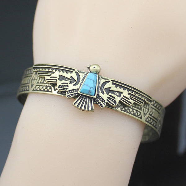 Lady's Antiqued Aztec Carved Eagle Turquoise Navajo Style Bracelet