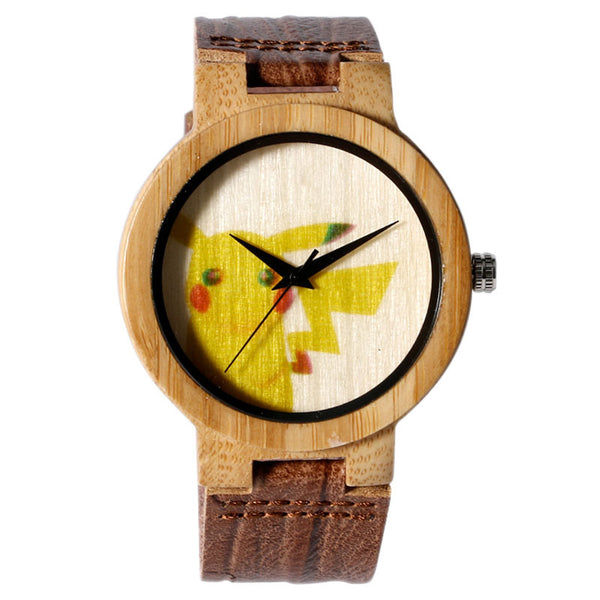 Ladie's Cute Pikachu Natural Bamboo Wood Quartz Wrist Watch