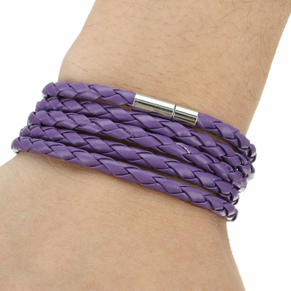 Simple Black Leather Cord Rope Bracelet 5 Loop Unisex Bracelet Six Colors Available