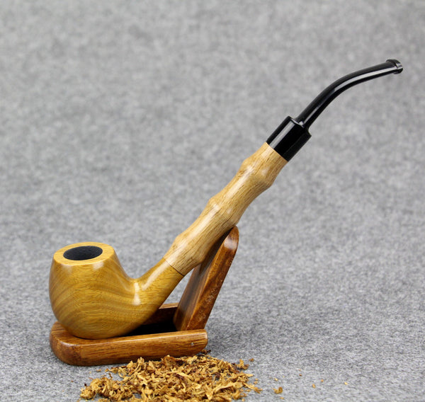 Blonde  Sandal Wood Tobacco Pipe 21cm w/Bamboo Insert 9mm Filter Pipe FT-838
