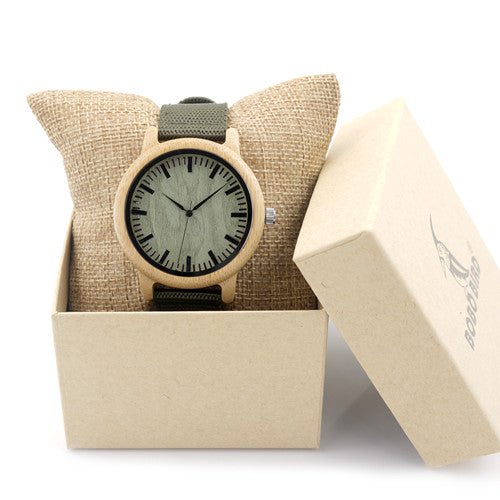 BOBO's GRAU BIRD Unisex Natural Wood Bamboo Watch w/Army Green Canvas Band